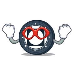 Super hero byteball bytes coin character cartoon vector