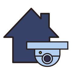 Surveillance camera in house vector