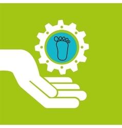 Symbol environment gear footprint vector