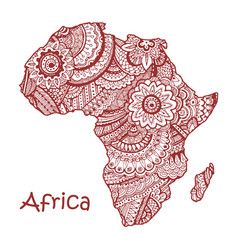 Textured map of africa hand drawn ethno vector