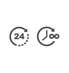 time and clock icons infinity time and 24 hours vector image