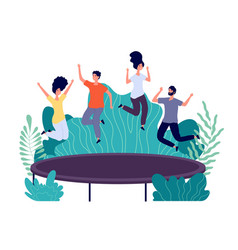 Trampoline jumping young happy people jump teens vector