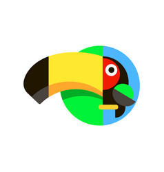 tropical bird toucan logo in flat style vector image
