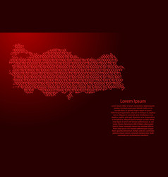 Turkey map abstract schematic from red ones and vector