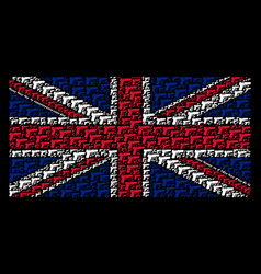 united kingdom flag collage of pistol gun items vector image