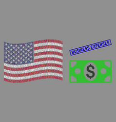 united states flag mosaic banknote and textured vector image