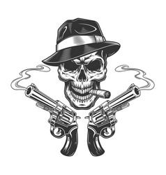 Vintage monochrome killer skull smoking cigar vector