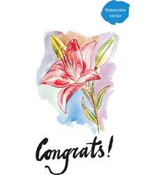 watercolor lilies - vector image