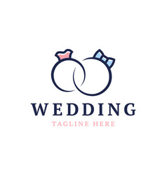 wedding logo cute wedding ringsstylized vector image