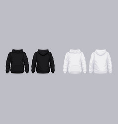 White black hoodie front back mockup fashionable vector
