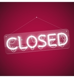 White Glowing Neon Closed Sign vector