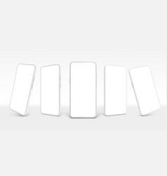 white smartphone mockup mobile phone empty vector image