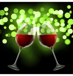 Wineglass on blurred bokeh background Romantic vector
