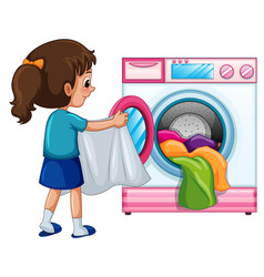 Young girl doing laundry vector