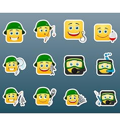 Fishing smile stickers set vector image