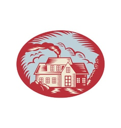 House Homestead Cottage Woodcut vector image vector image
