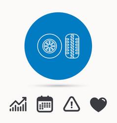 Tire tread icon car wheel sign vector