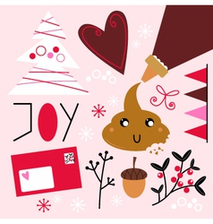 Xmas baking set isolated on pink vector image vector image