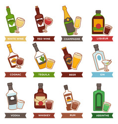 alcohol drinks bottles and cocktails glasses vector image vector image