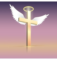 Angel wings nimbus and cross vector