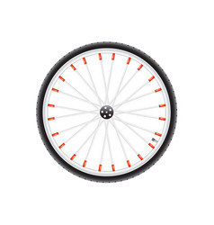 bicycle wheel in silver dark and red design vector image vector image