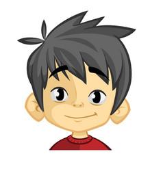 cartoon funny boy head vector image
