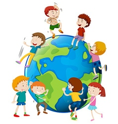 Many children areound the world vector image vector image