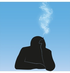 silhouette smoking person background vector image