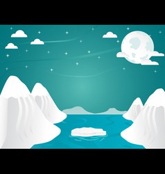 artic landscape with icebergs in ocean mountain an vector image