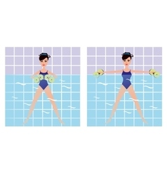 Beautiful girl doing Aqua aerobics girl vector image
