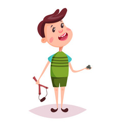child or boy young man with slingshot vector image