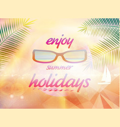 summer sky with sun wearing sunglasses vector image vector image