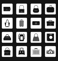bag baggage suitcase icons set squares vector image vector image