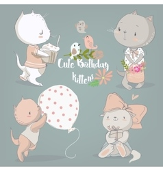 birthday set with cute kittens vector image