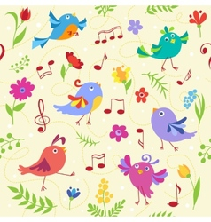 Cute spring musical birds seamless pattern vector image