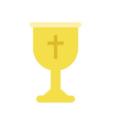 golden cup or goblet chalice for christian worship vector image