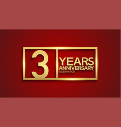 3 years anniversary logotype with golden color vector