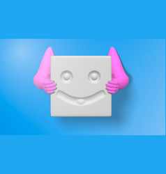 3d of a pink hand with smiley face icons and vector