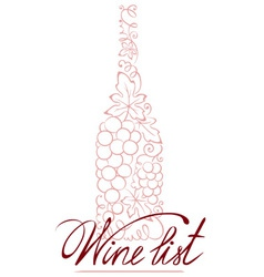 Abstract floral wine bottle vector image