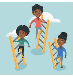 african business people climbing to success vector image