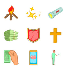 Alms-deed icons set cartoon style vector