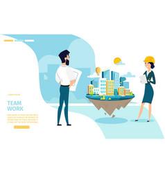 Architects team work cartoon web banner vector