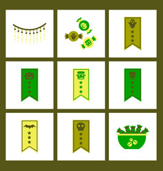 Assembly flat icons halloween garland candy vector