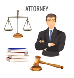 Attorney in glasses near scales four books and vector