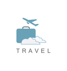 bag plane travel logo vector image