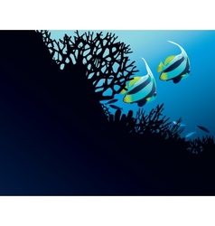 Bannerfish in corals vector image