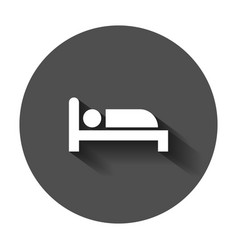 Bed icon in flat style sleep bedroom with long vector