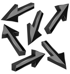 black 3d arrows set of shiny straight signs vector image