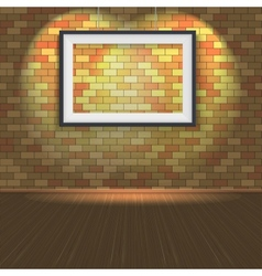 Brick wall with a empty frame and lighting vector image