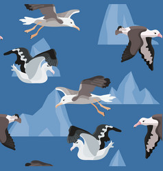 Bright seamless pattern with birds albatross from vector